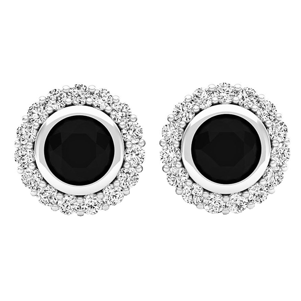 1.35 Carat (ctw) Sterling Silver Round Black & White Diamond Ladies Halo Style Stud Earrings by DazzlingRock Collection