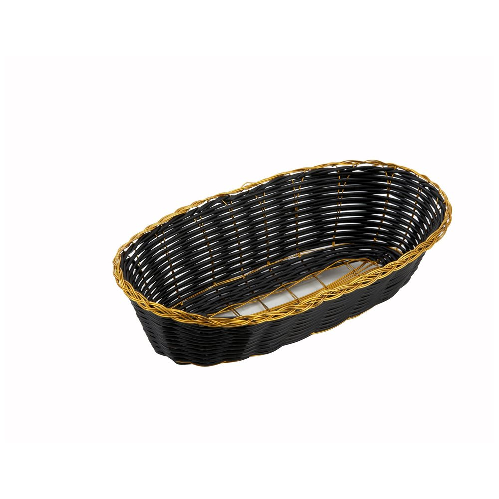 Winco PWBK-9B, 9'' x 4.25'' x 2'' Oblong Black Poly Woven Basket With Gold Trim, Tabletop Serving Bread Snacks Baskets, 12-Piece Pack