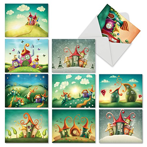 "Cards with Envelopes (4"" x 5 ¼""), Assorted 'Fantasy Suites' Stationery Set, Blank Greeting Cards for Baby Showers, Birthdays, Weddings, Thank Yous - NobleWorks #M6476OCB ()"