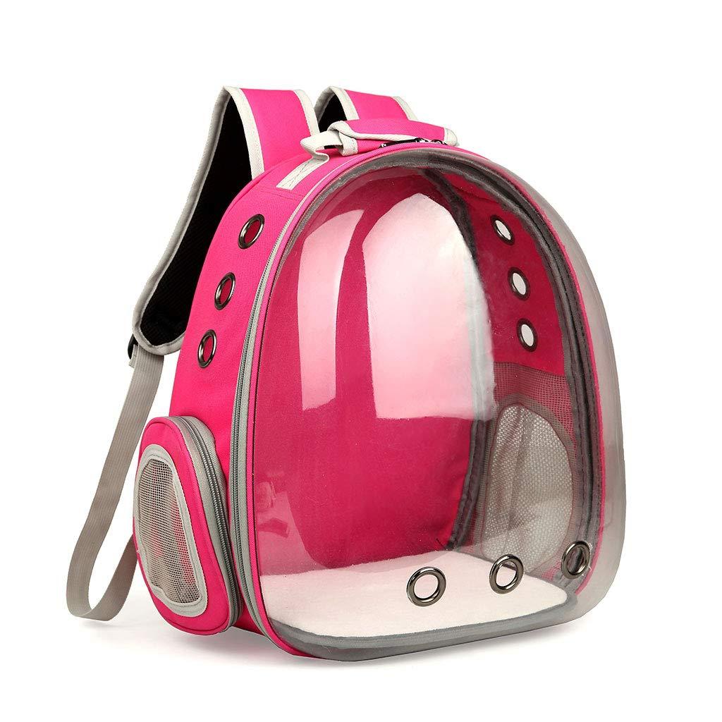 Lvyuanda Breathable Pet Travel Backpack Space Capsule Carrier Bag Hiking Bubble Backpack for Cat & Dog (Hot Pink)