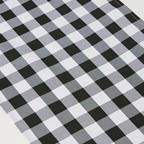 TRLYC Black and White Checkered Table Runner Black Plaid Table Runner Table Top-13x108-Inch - Plaid Table Runner