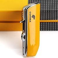 Yghfd Mini Pocket Cigarette Lighter Metal Windproof 3 Jet Blue Flame Torch Cigarette Lighter With Cigar Puncher, Gift…