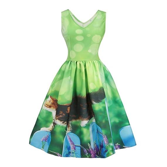 JYC Verano Falda Larga, Vestido De La Camiseta Encaje, Elegante Casual, Vestido Fiesta Mujer Largo Boda, Vendimia O Cuello Gato Paseo Vestir: Amazon.es: ...
