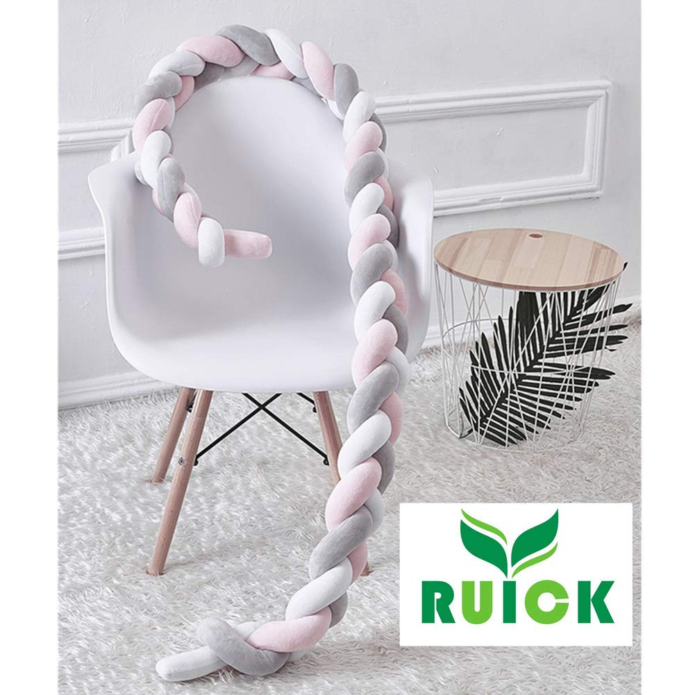 Baby Braided Crib Bumpers Long Knot Pillow Cushion,Nursery Bedding Cot Safety Fence Stroller Bumpers Room Decor 200CM, White