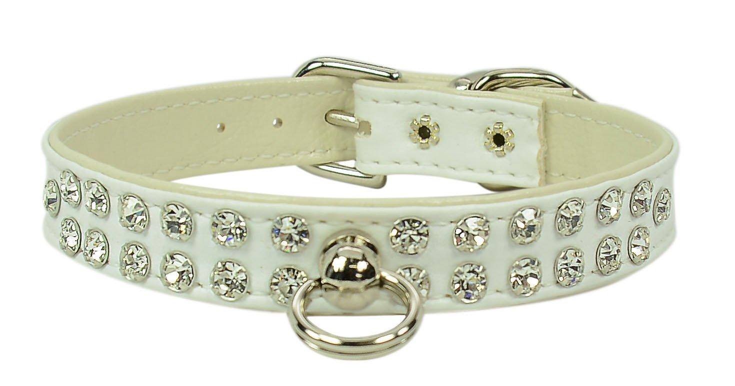 Evans Collars 1 2  Jeweled Collar, Size 16, Vinyl, White