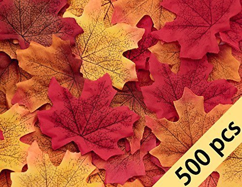500PCS Fall Artificial Maple Leaves Decorations - Thanksgiving Autumn Leaf Wedding Party Table Decor