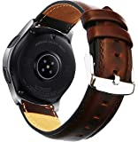 Ticwatch Pro & Galaxy Watch 46mm Band, 22mm Quick Release Genuine Leather Replacement Strap Stainless Steel Buckle Samsung Gear S3 Classic/Frontier, Ticwatch Pro Smart Watch OTOPO (Brown)