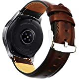 OTOPO for Galaxy Watch3 45mm Bands/Galaxy Watch 46mm Bands, 22mm Quick Release Genuine Leather Replacement strap with Stainle