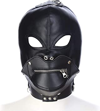 SexReaper Capucha Máscara Cuero Rey Diablo Arnés Máscara de Ojos ...