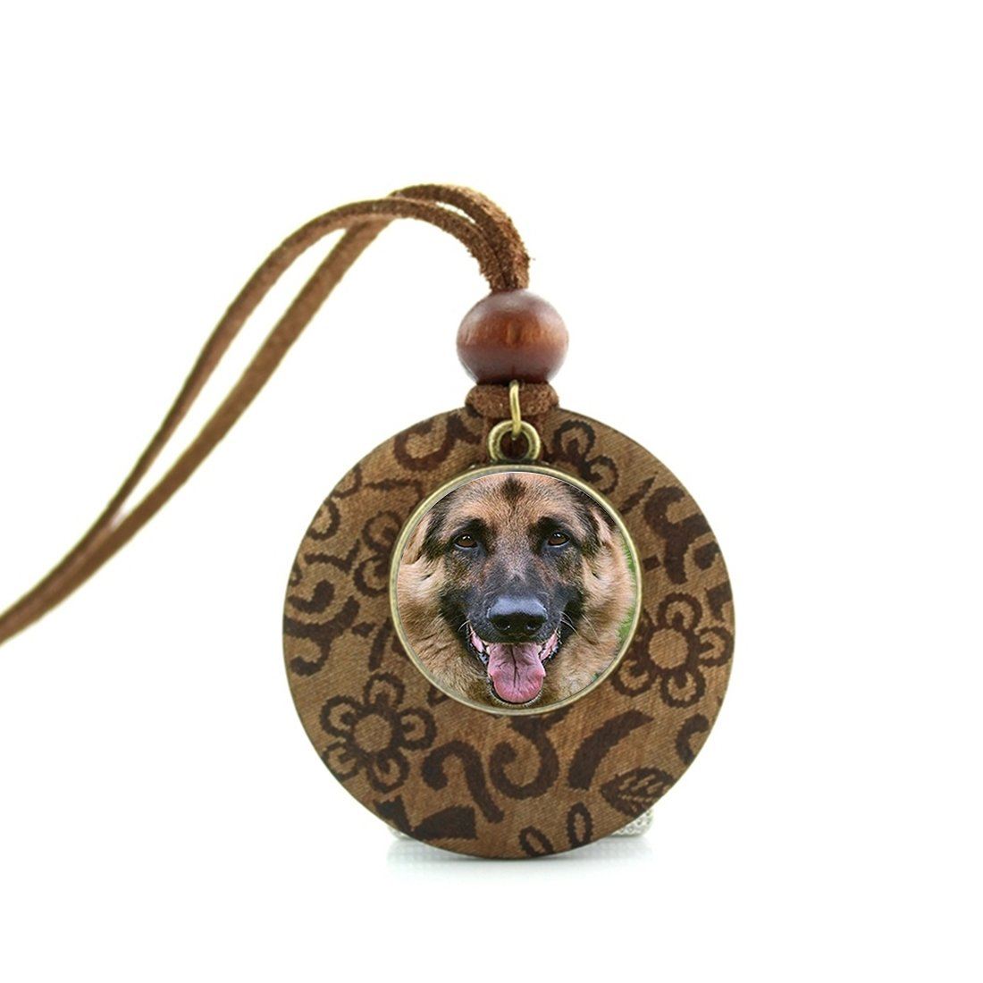 DOME-SPACE Pendant Necklace Retro Vintage Style German Shepherd Jewelry Glass Cabochon Lover Pendant Jewelry Silver