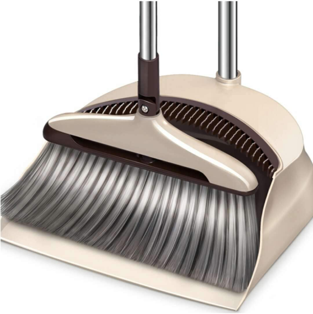 Broom Set Soft Bristle,Broom And Dustpan EXTRA LONG 47 inches handle-Dust And Brush Upright,Lies Tightly On Floor-Commercial Dustpan And Brush for Home, Lobby, Shop, Garage,Schools,Churches,Hotel,Bars