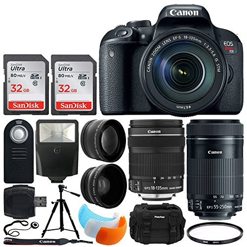 Canon EOS Rebel T7i DSLR Camera + EF-S 18-135mm f/3.5-5.6 is STM Lens + EF-S 55-250mm is STM Lens + 64GB Memory Card + Flash Diffusers + Photo4Less Case + Tripod + Remote + UV Filter + Slave Flash