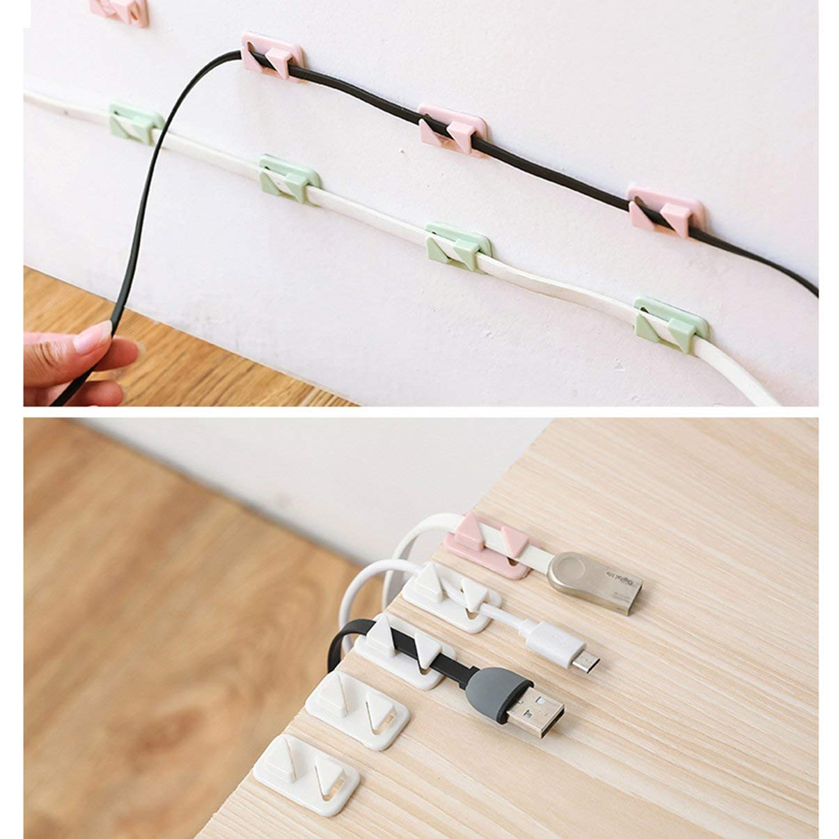 12pcs Universal Wire Tie Autoadhesivo Rect/ángulo Cord Management Winder Cable Holder Organizer Mount Clip Clamp