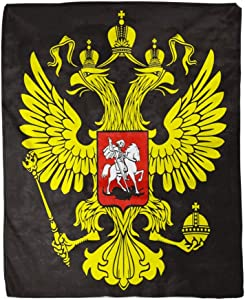 rouihot 50x60 Inches Flannel Throw Blanket Russia The Russian Two Headed Eagle Symbol of Imperial Home Decorative Warm Cozy Soft Blanket for Couch Sofa Bed