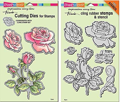 Die Set Garden - Stampendous Cling Stamp and Die Sets - Rose Garden - 2 Item Bundle