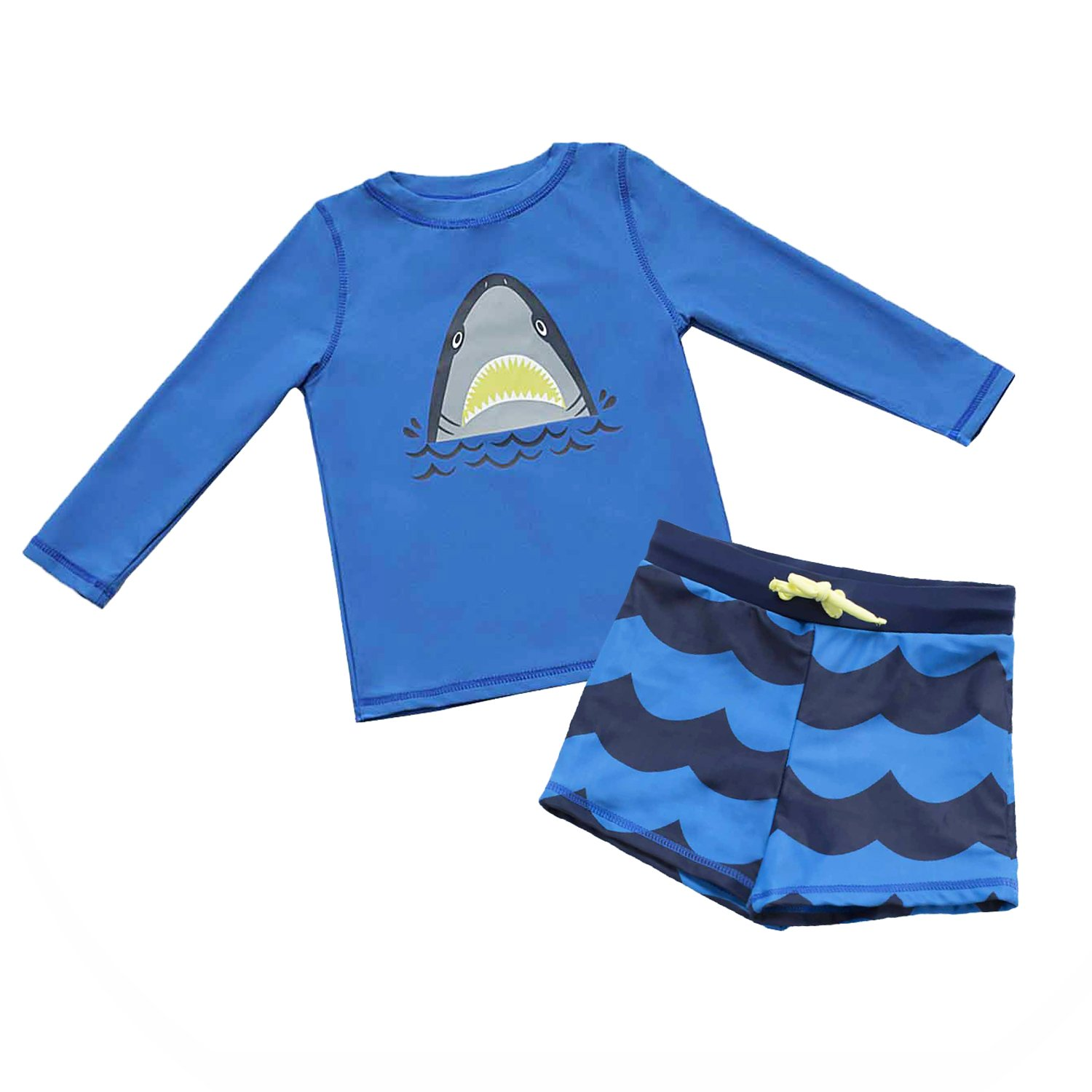 7-Mi Outdoor Swimwear Set Long Shirt and Short 2pcs Rash Guard Shirts 1 to 5 Years
