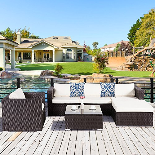 Cloud Mountain 6 Piece Rattan Wicker Furniture Set Outdoor Patio Garden Sectional Sofa Set Cushions Azule Pillows, Dark Chocolate