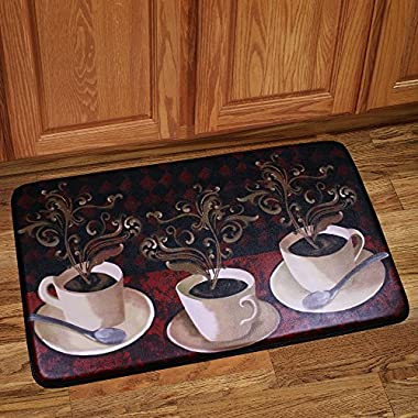 Sweet Home Collection Memory Foam Anti Fatigue Chef Design Kitchen Floor Mat Rug, Lotus Cafe, 30  x 18