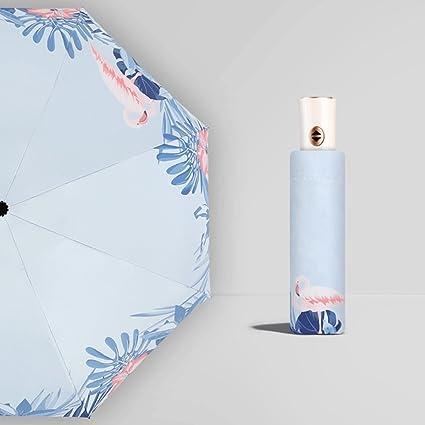 Paraguas Sombrilla Plegable automático Refuerzo Sen línea Femenina Simplicidad Retro Reina QIQIDEDIAN (Diseño : Flamingo