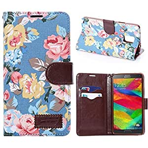Note 4 case,Creativecase Carryberry new fashion flowers PU Design Flip Wallet Leather Case Cover With Stand For Samsung Galaxy Note 4#G6
