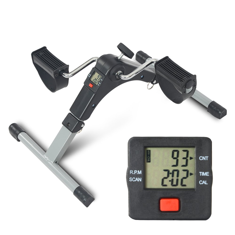 Digital Mini Folding Exercise Bike Pedal Exerciser Fitness Cycle for Leg and Arm (Black 2)