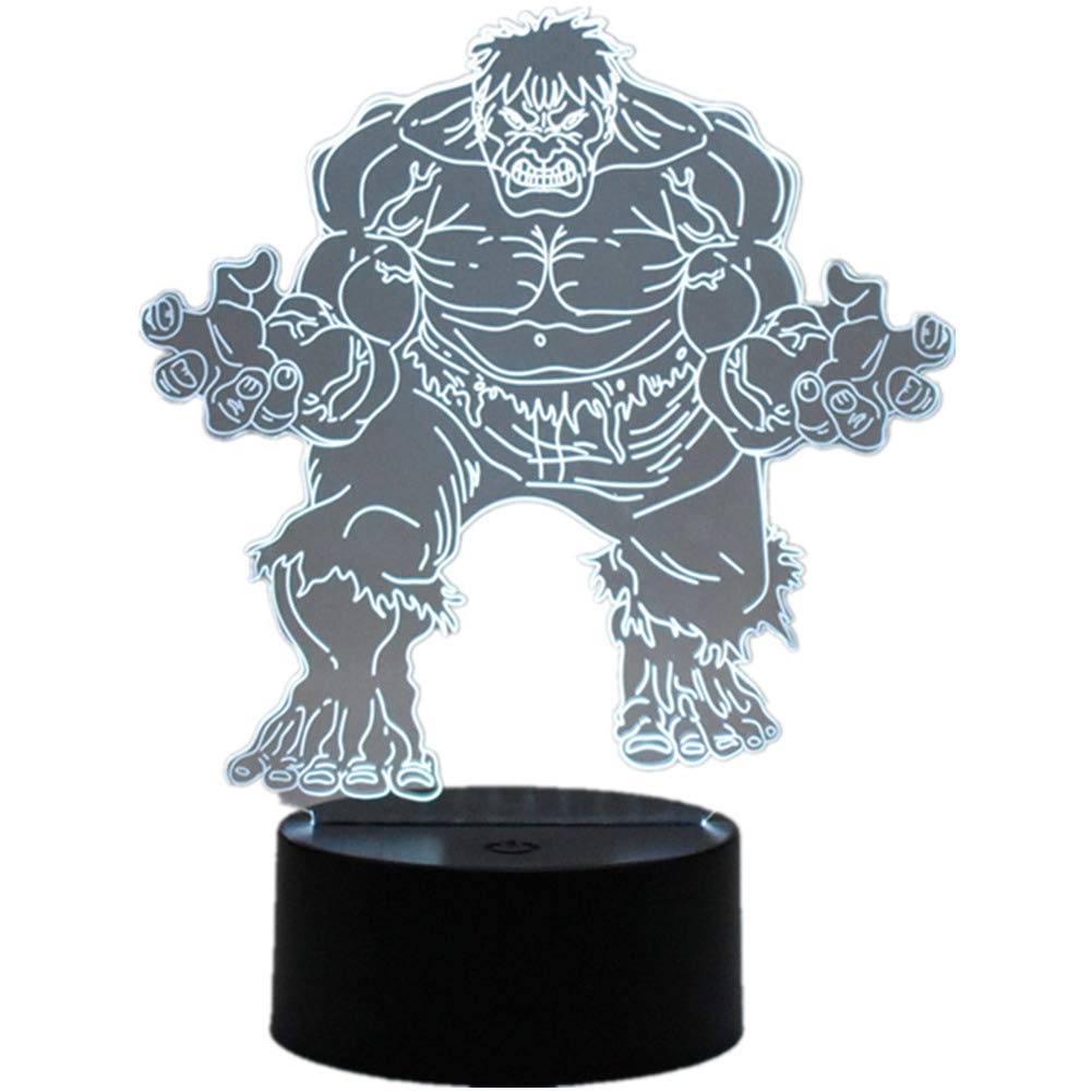 The Avengers Superhero 3D Hulk LED Home Office Decoration Touch Remote Control 16 Color Acrylic USB/Battery Anime Bedroom Lights Creative Birthday Gift Toy(Superhero Hulk)