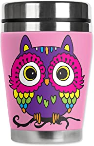 Mugzie brand 16-Ounce To Go Tumbler with Insulated Wetsuit Cover - Pink Owl