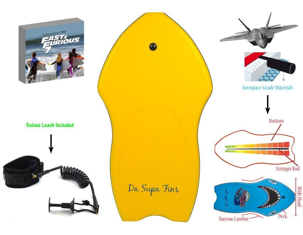 DaSupaFins Hammerhead Body board/Boogie Board - Yellow (Large 44'')