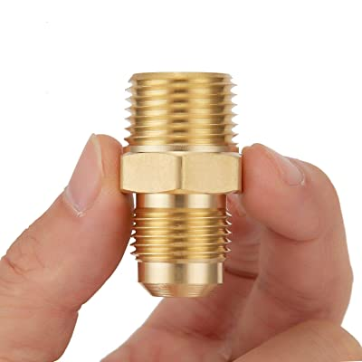 Half Union Gas Adapter 3//8 Flare x 1//2 NPT Male Pipe Connector Breezliy 2 PCS Brass Tube Fitting