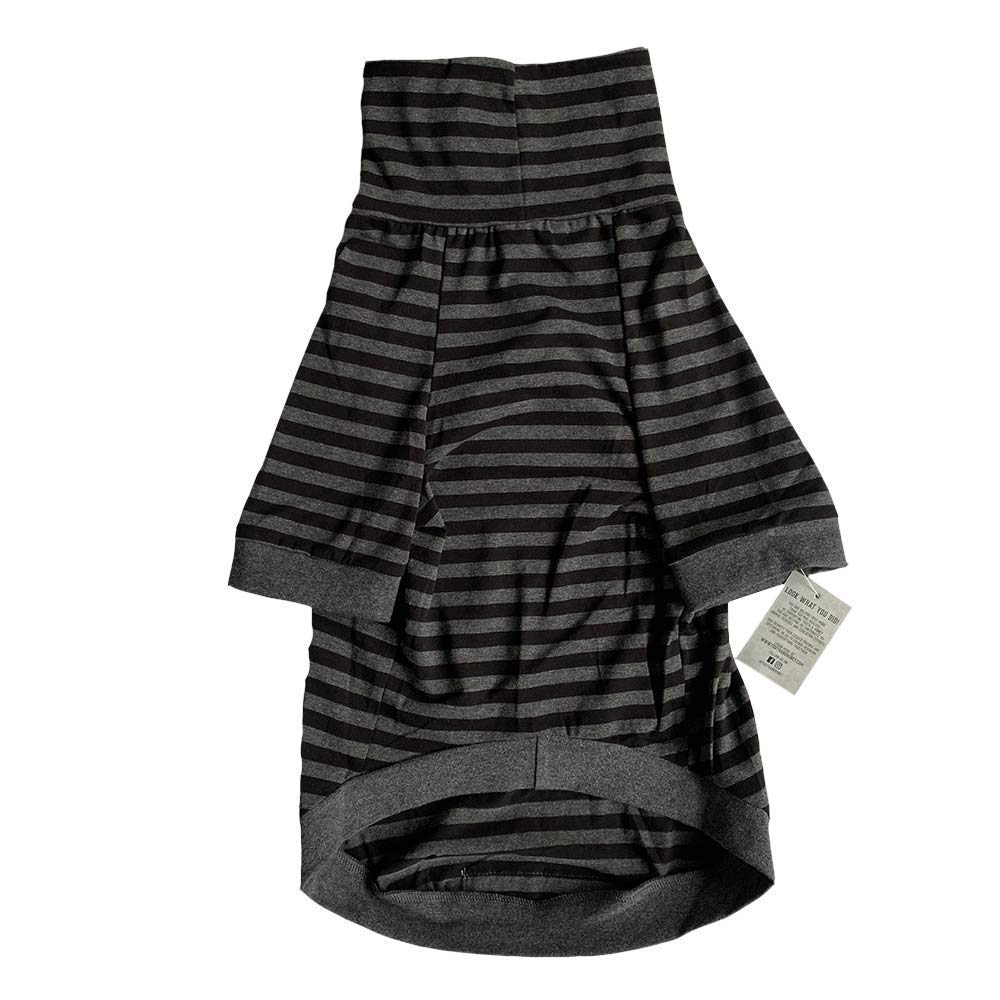 Tooth & Honey Big Dog/Stripe Shirt/Pullover/Full Belly Coverage/for Big Dogs/Pitbull Shirt/Black & Grey (Medium)