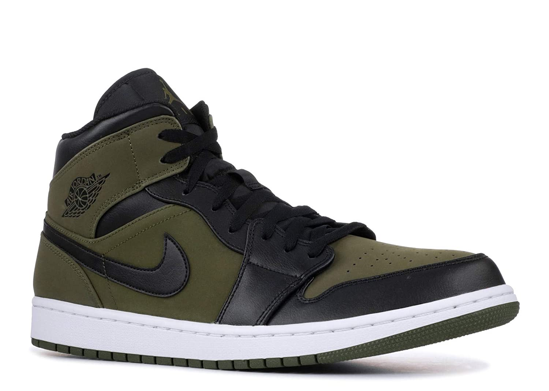 21f60aa37ff Amazon.com   Nike Mens Air Jordan Retro 1 Mid Basketball Shoes Olive  Canvas/Black-White 554724-301 Size 12   Basketball