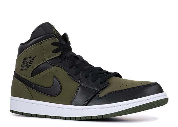 sale retailer 12b67 d7420 Amazon.com   Nike Mens Air Jordan Retro 1 Mid Basketball Shoes Olive Canvas  Black-White 554724-301 Size 12   Basketball