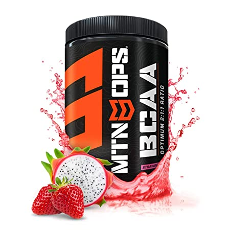 MTN OPS BCAA 2 1 1 Muscle Building Recovery Supplement, Strawberry Dragonfruit Flavor, 30-Serving Tub