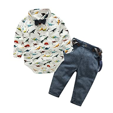 51faad573 Amazon.com  Top and Top Baby Boys Dinosaur Shirt Bowtie Clothes ...
