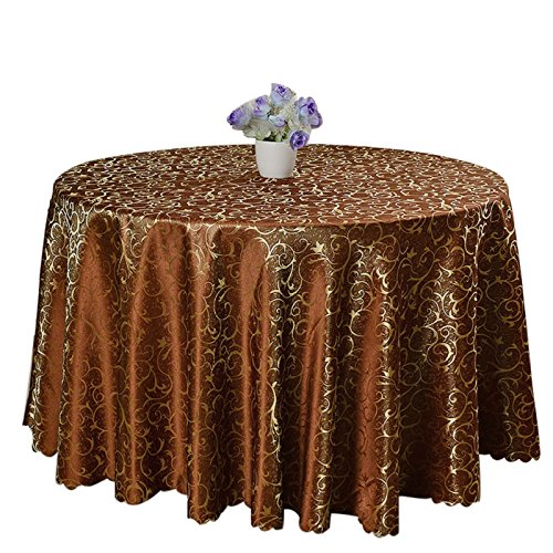 [Moldiy Contemporary Tablecloth Fabric Table Cover Woven Overlays with Jacquard Pattern for Banquet/Parties/Festival,Coffee,70-Inch Round] (Jacquard Tablecloth Fabric)