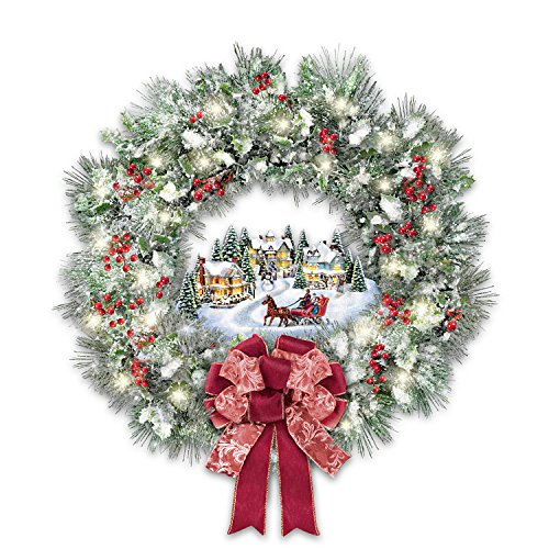 Thomas Kinkade A Holiday Homecoming Musical Christmas Village Wreath Lights Up by The Bradford Exchange