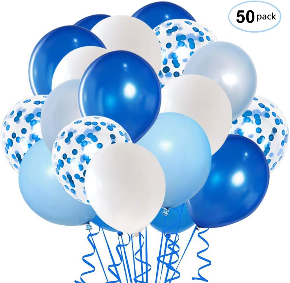 Royal Blue Confetti Latex Balloons, 50pcs 12 inch Light Blue Baby Blue and White Party Balloons for Birthday Wedding Party Decoration