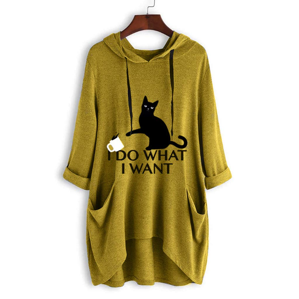 Hoodie Dress Knee Length Hessimy Girl Hoodies Plus Size Cute Cat Ear Novelty Pullover Sweatshirt Loose Tops with Pockets