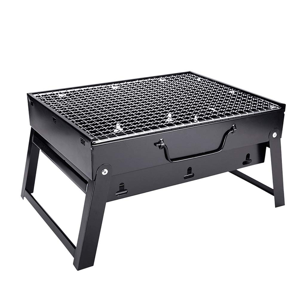 WANG XIN Grill Mini Outdoor Wild Charcoal Home Full Carbon Grill Small Barbecue Tool Stove Stainless Steel Black (Size : S)