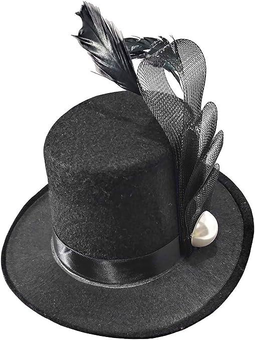 Negro Con Cinta Y Pluma Mini Sombrero De Copa