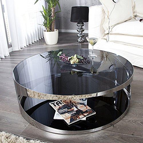 Moderner Couchtisch PROMETHEUS 90cm aus Opalglas Edelstahl rund