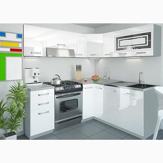 Justyou lidja l küche küchenzeile küchenblock 190x170 cm farbe rot hochglanz amazon de küche haushalt