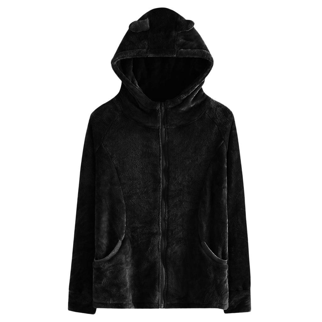 Redacel Women Winter Fashion Solid Color Faux Fur Jacket Rabbit Ear Hooded Plush Zipper Pocket Coats(XL,Black)