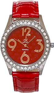 dk Leather Casual Watch for Women, Red