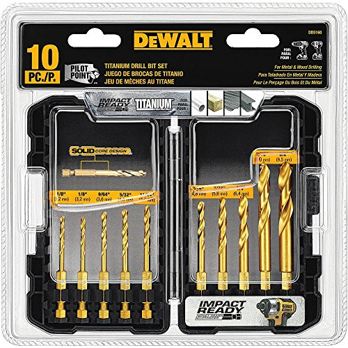 (DEWALT Titanium Drill Bit Set, 10-Piece Impact Ready)