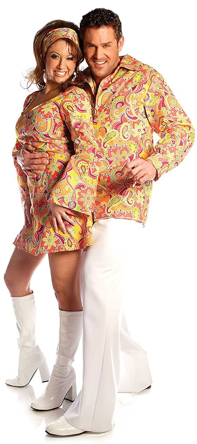 60s -70s  Men's Costumes : Hippie, Disco, Beatles Plus Size Orange Shirt Disco Costume  AT vintagedancer.com