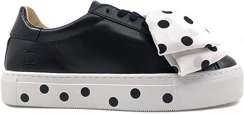 D.A.T.E. NV PO BK Sneakers Donna in Pelle Nera E Fiocco