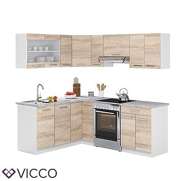 Vicco küchenzeile l 210cm küchenblock winkel eck einbau sonoma eiche frei kombinierbare einheiten r