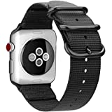 MaKer Woven Nylon iWatch Band with NATO Loop Buckle Compatible Apple Watch Series 5/4/3/2/1 (44mm/42mm,Black)
