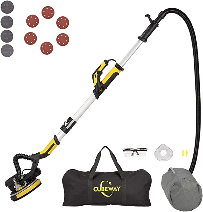 Drywall Sander with Vacuum, Rotary and Detachable Dust Shroud for up-to-the Wall Sanding, Electric Drywall Sander with Variable Speed and LED Light, ETL Listed, CUBEWAY